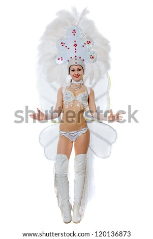 The girl in clothes for a carnival has beautifully risen - stock photo