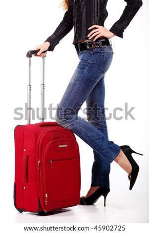 The girl with a suitcase on the white background - stock photo