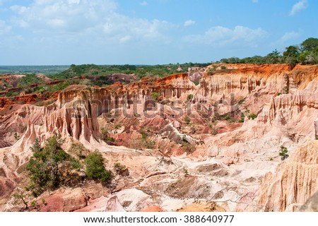 The Hell's Kitchen, Marafa Canyon. Malindi region, Kenya  - stock photo