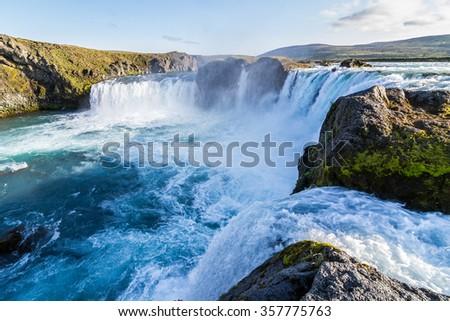 "the Icelandic waterfall called ""Godafoss"" - stock photo"
