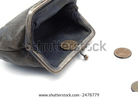 The last money:( american coins running from old suede purse on the white background - stock photo