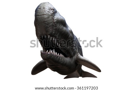The Livyatan melvillei was a huge prehistoric whale that lived at the same time as the Megalodon shark. - stock photo