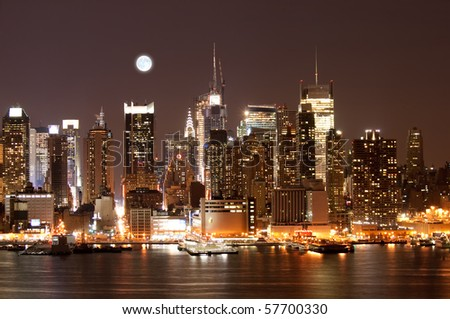 The Mid-town Manhattan Skyline in New York City - stock photo