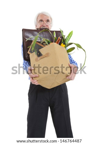the old man fired on white background - stock photo