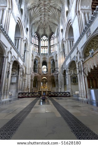 The presbytery of Norwich Cathedral towards the altar. - stock photo