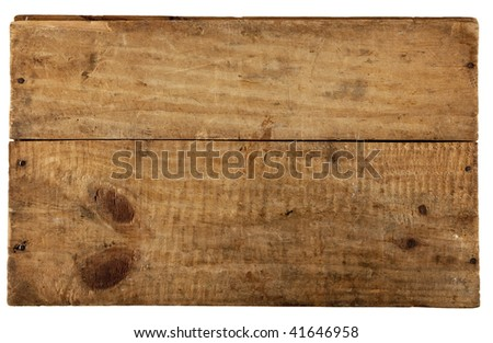 the really old wooden board, from old box, isolated on white - stock photo
