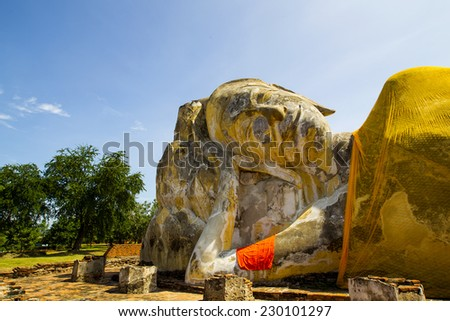 The reclining Buddha images at Wat Lokayasutha, Ayutthaya Province, Thailand - stock photo