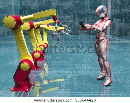 The robots and cyborg in the background drawings. - stock photo