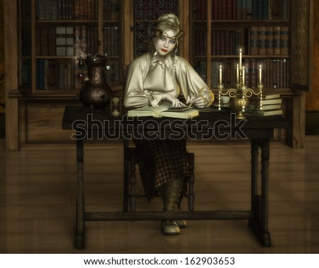 'The Scholar', digital illustration of a sweet steampunk lady, busy in a candlelit library amongst her alchemy experiments and books, glancing up as though interrupted. - stock photo