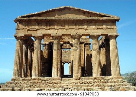 """The temple of Concord"" in ""the Valley of the Temples"" in ""Agrigento"" - stock photo"