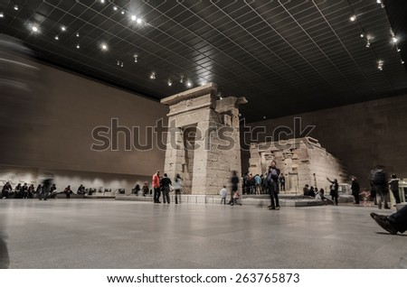[2013-12-28] The Temple of Dendur at the Metropolitan Museum of Art, New York City. This was dismantled and relocated from Egypt to New York City to save it from submerging by Lake Nasser.  - stock photo