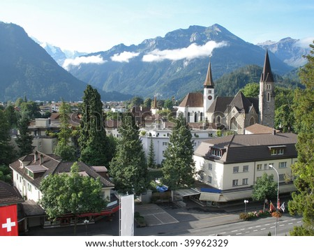 The town of Interlaken in Switzerland, - stock photo