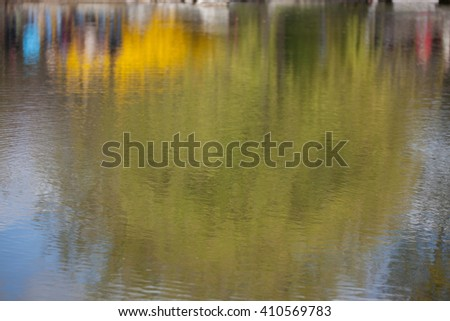 The water surface of the lake with reflection of trees and plants - stock photo