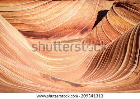 The Wave, Arizona, amazing canyon rock formation near page. Vermillion Cliffs, Paria Canyon State Park, wilderness - stock photo