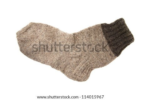 the woolen sock isolated on a white background - stock photo