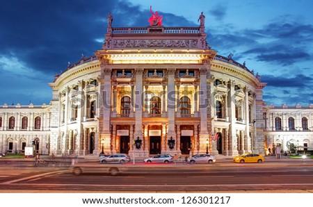 Theater Burgtheater of Vienna, Austria at night - stock photo
