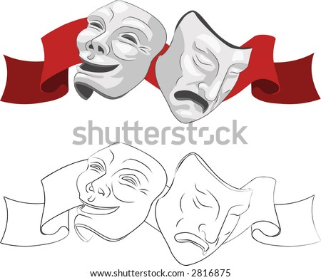 Theatre comedy and tragedy masks. Raster version - stock photo