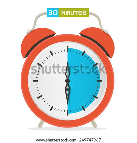 30 - Thirty Minutes Stop Watch - Alarm Clock Illustration  - stock photo