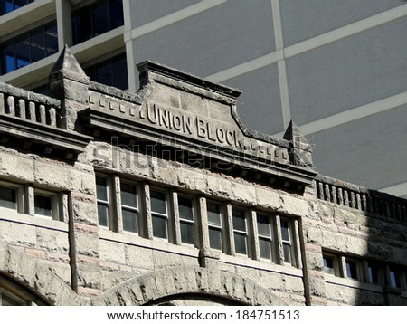 This historic building was constructed in Boise, Idaho during 1902.                               - stock photo