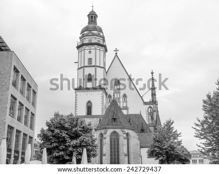Thomaskirche St Thomas Church in Leipzig Germany where Johann Sebastian Bach worked as a Kapellmeister and the current location of his remains in black and white - stock photo