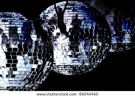 three big disco balls - stock photo