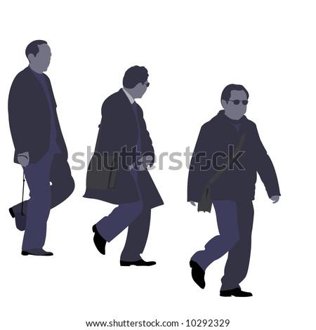 three men going downstairs - stock photo