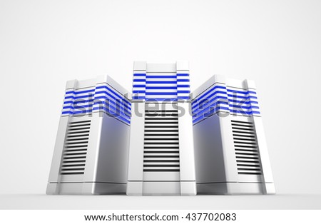 Three network servers on white background. 3d rendered illustration.  - stock photo