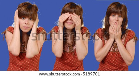 """three wise monkeys"" hear no evil, see no evil, speak no evil - humorous concept - isolated on blue - stock photo"