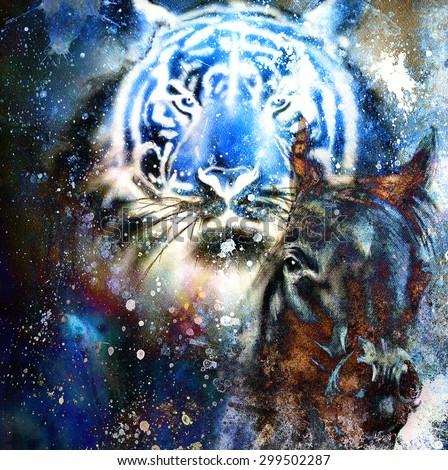 tiger with horse,  collage on color abstract  background,  rust structure, wildlife animals - stock photo