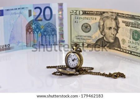 time for choices stable currencies : dollar or Euro - stock photo