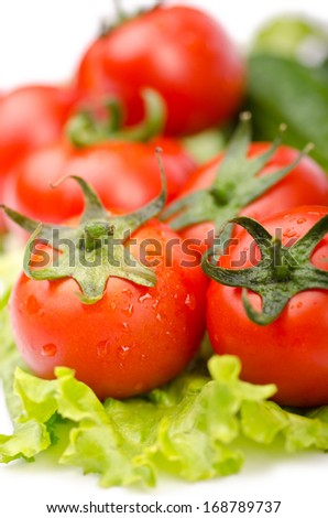 tomatoes ready for salad - stock photo