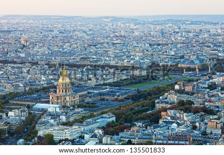 top view for historical quarter of Paris - stock photo