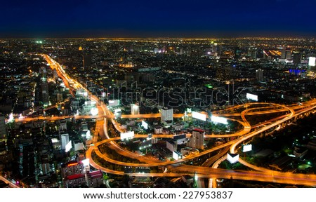 top view of Expressway Highway in Bangkok Thailand. - stock photo