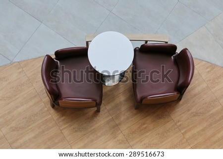 top view two chair and table - stock photo