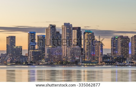 Toronto Harbourfront  district skyline with the adjacent skyscrapers  - stock photo