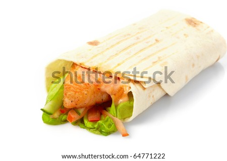 tortilla with fish and vegetables - stock photo