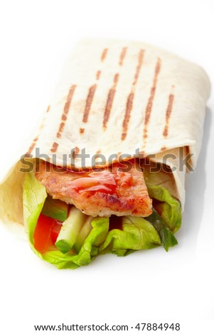 tortilla with meat and vegetables - stock photo