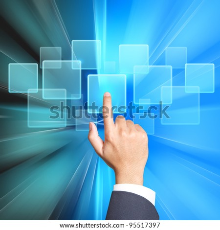touch screen with transparent buttons - stock photo