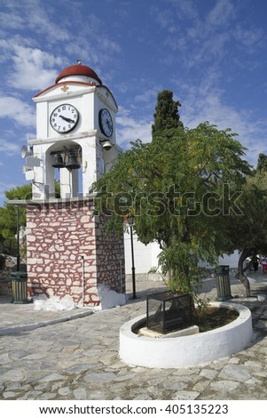Town clock in greek island Skiathos in Sporades  archipelago - stock photo