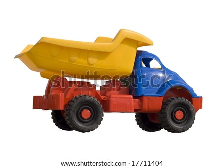 toy dump truck isolated on white - stock photo