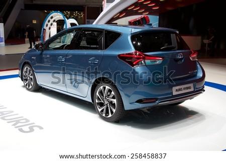 2015 Toyota Auris Hybrid presented the 85th International Geneva Motor Show on March 3, 2015 in Palexpo, Geneva, Switzerland - stock photo