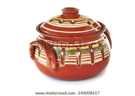 Traditional Bulgarian ceramic pot - stock photo