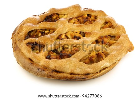traditional Dutch apple pie on a white background - stock photo