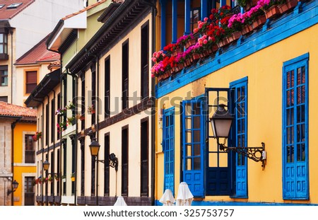traditional facade of  asturian dwelling house - stock photo