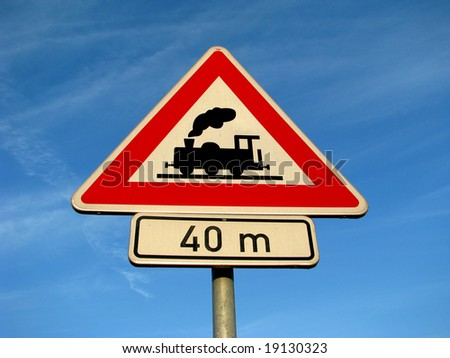 train - road sign - stock photo