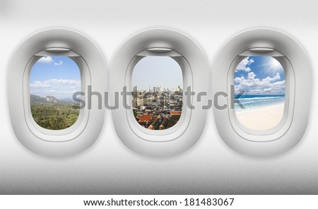 travel thailand, view of window aircraft.(paths inside easy replacement) - stock photo