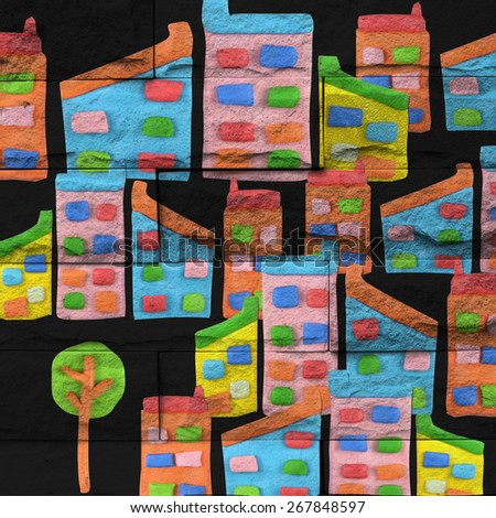 """""""tree and city"""" Mural. The brick painting concept - stock photo"""