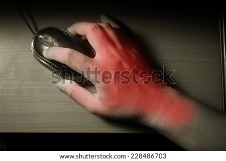 Trigger finger or Carpal Tunnel syndrome,pain from use computer mouse. - stock photo