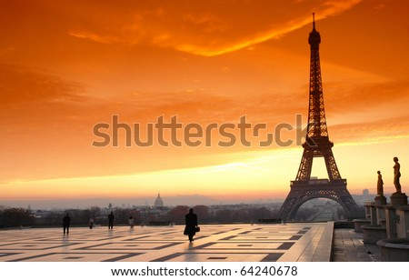 trocadero square and eiffel tower - stock photo