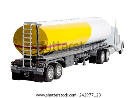 truck with fuel tank isolated on white background with clipping path - stock photo